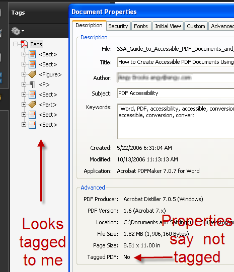 Screen capture of tags panel and properties box. There are tags in the tags panel, but the properties box says the document is untagged